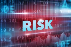 Risk concept red background with blue text